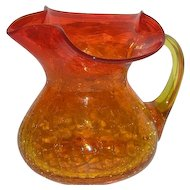 Blenko Art Glass, Amberina Crackle Glass Cream Pitcher