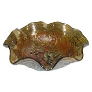 Olive Amber, Imperial Grape, Small 8 Ruffled Carnival Glass Bowl
