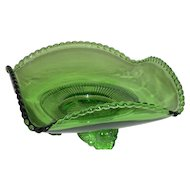 Green, U.S. Glass Co., Square, Lacy Medallion Footed Bowl
