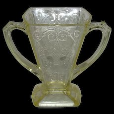 Yellow, Indiana Glass Co., Loraine/Basket, Depression Glass Open Sugar