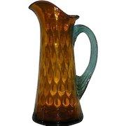 Hand Blown, Victorian Art Glass, Amber & Aqua, Dot Optic Pitcher