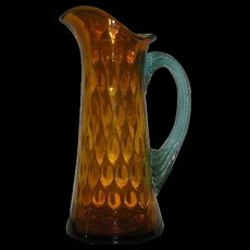 Hand Blown, Victorian Art Glass, Amber & Aqua, Dot Optic Pitcher