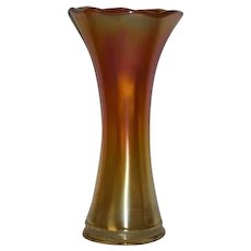 "Imperial, 9 3/4"", Marigold, Smooth Panels Carnival Glass Vase"