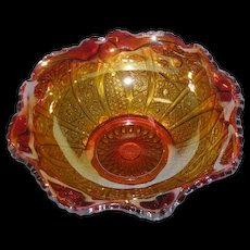 Amberina, Indiana Glass, Heirloom, Carnival Glass Bowl