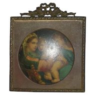 Early, Metal Framed, Enameled Tin Portrait