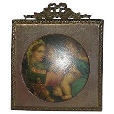 Early, Metal Framed, Enameled Tin Portrait