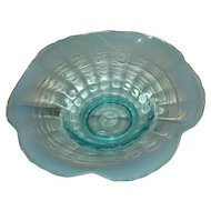 Jefferson Glass Co., Blue Opalescent, Smooth Ribs Bowl