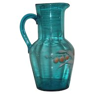 Blue, Hand Blown, Victorian Art Glass, Enamel Decorated Pitcher