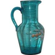 Blue, Hand Blown, Victorian Art Glass, Enamel Decorated Pitcher