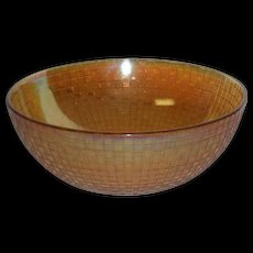Marigold, Hazel Atlas, Checkers, Carnival Glass Bowl