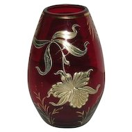 Red, Gold Decorated, Art Glass Vase