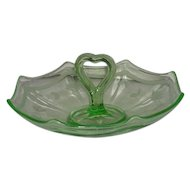 Imperial, Heart Handled, Uranium Glass Fruit Server