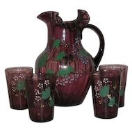 5 Pc., Enamel Decorated, Amethyst Water Set
