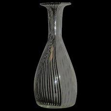 Murano, by Veninni, Black & White Stripe, Art Glass Vase
