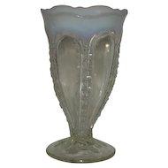 """White Opalescent, 7"""" Zipper Vase"""