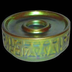 Zsonay, PECS, Hungary, Green/Gold Eosin Glaze Candle Holder/Stand