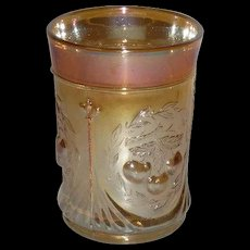 Dugan, Marigold, Wreathed Cherry, Carnival Glass Tumbler
