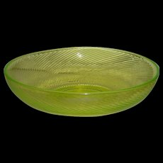 "Large, Vaseline, Swirled Rib, 11"" Center Bowl"