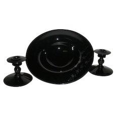 3 Pc., Black Amethyst, Silver Decorated Console Set
