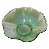 Small, Green, Eight Ruffled, Iridescent Eight Ruffled Art Glass Bowl