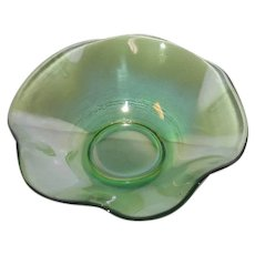 Small, Green, Eight Ruffled, Iridescent Eight Ruffled Art Glass Bowl