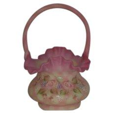 Fenton, Diamond Optic, Enamel Decorated, Satin Burmese Basket