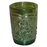 Imperial, Green, Field Flower Carnival Glass Tumbler