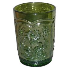 Imperial, Green, Field Flower Carnival Glass Tumbler