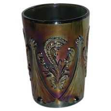 St. Clair, Blue, Feather Scroll, OJO Carnival Glass Society Tumbler