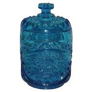 Imperial, Blue, Hobstar Covered Jar