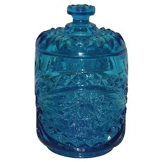 Imperial, Blue, Hobstar Covered Jar
