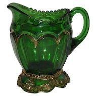 Riverside Glass Co., Green w/Gold Trim, Empress Creamer