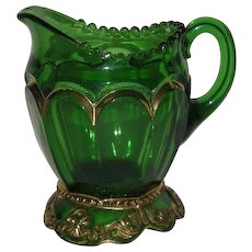 Riverside Glass Co., Green w/Gold Trim, Empress Creamer