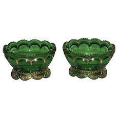 Pair, Gold Trimmed, Riverside Glass Co., Empress, Berry Bowls
