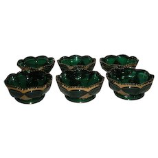 Six, Northwood, Gold Trimmed, Leaf Medallion Berry Bowls