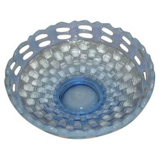 Fenton, Blue Opalescent, Open Edge Basketweave Bowl
