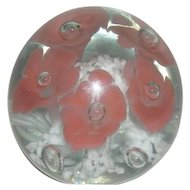 Signed, Monte Dunlavy, Floral & Controlled Bubble Paper Weight