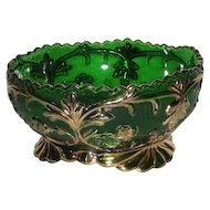 Riverside Glass Co., Green W/Gold Trim, Large Berry Bowl
