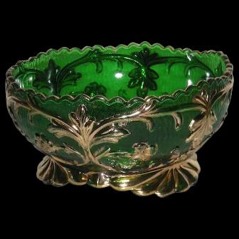 Riverside Glass Co., Green W/Gold Trim, Large Berry Bowl