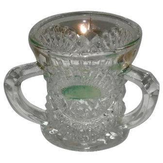 U.S. Glass Co., Green Stained W/Gold Trim, Rising Sun Toothpick Holder