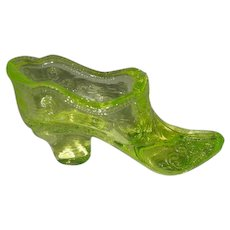 Mosser, Vaseline Glass, Art Glass Slipper W/Bow