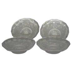 Set of Four, Heinrich Hoffman, Intaglio, Crystal Dessert Bowls
