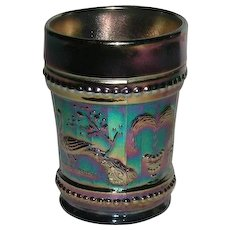 Dugan, Cobalt Blue, Peacock @ Fountain, Carnival Glass Tumbler