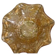 Imperial, Light Marigold, Pansy, Carnival Glass Ruffled Bowl