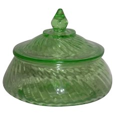 Green, Anchor Hocking, Spiral, Uranium Depression Glass Preserve Dish W/Cover