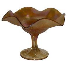 Northwood, Marigold, Basketweave Carnival Glass Compote