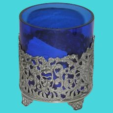 Silver Plate Candle Holder W/Cobalt Blue Insert