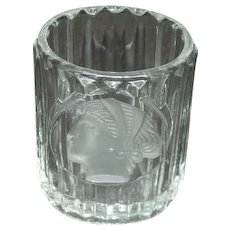 Early 1900's, Ribbed Toothpick Holder W/Embossed Cameo