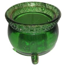 U.S. Glass Co., Green W/Gold Trim, Witches Pot Toothpick Holder