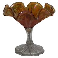 Imperial, Marigold, Columbia Variant, Carnival Glass Compote